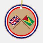 UK and Guyana Crossed Flags Round Ceramic Decoration