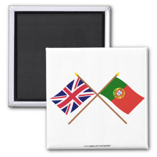 UK and Portugal Crossed Flags Square Magnet
