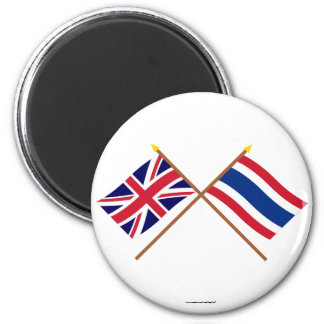 UK and Thailand Crossed Flags 6 Cm Round Magnet