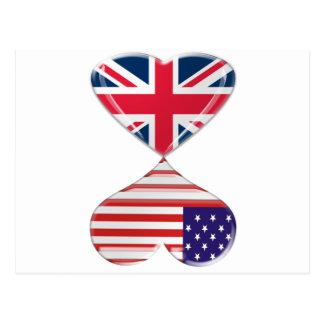 UK and USA Hearts Flag Art Postcard