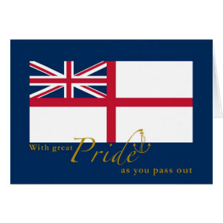 UK Navy Passing Out British White Ensign & Anchor Greeting Card