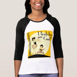 Ukes are Cool! Ladies 3/4 Sleeve Raglan Tee Shirts