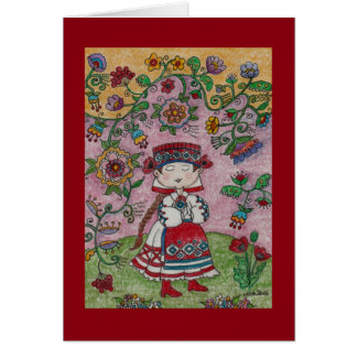 Ukrainian Dancer and Flowers Folk Art Greeting Card