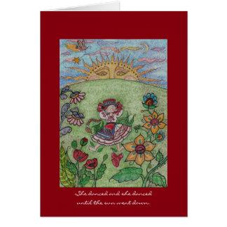 Ukrainian Dancer, Until the Sun Went Down Folk Art Greeting Card