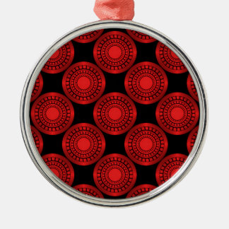 Ultra Modern Circles Premium Ornament, Red Silver-Colored Round Decoration