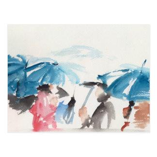 Umbrellas detail Original watercolors Postcard 2