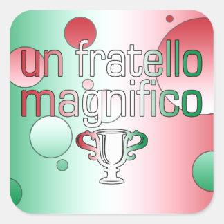 Un Fratello Magnifico Italy Flag Colors Pop Art Square Sticker