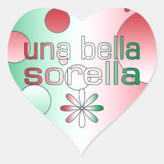 Una Bella Sorella Italy Flag Colors Pop Art Heart Sticker