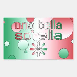 Una Bella Sorella Italy Flag Colors Pop Art Rectangular Sticker