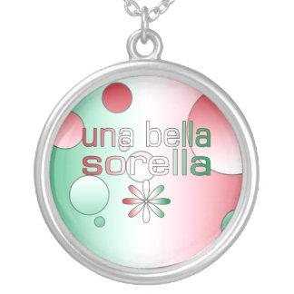 Una Bella Sorella Italy Flag Colors Pop Art Round Pendant Necklace