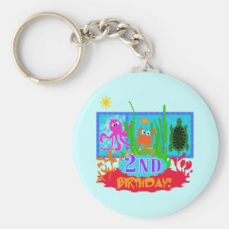 Undersea 2nd Birthday T-shirts and gifts Basic Round Button Key Ring