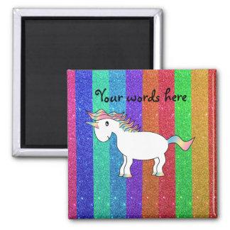 Unicorn with rainbow glitter stripes square magnet
