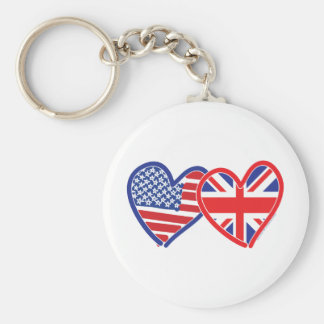 Union Jack Flat USA Flag Basic Round Button Key Ring
