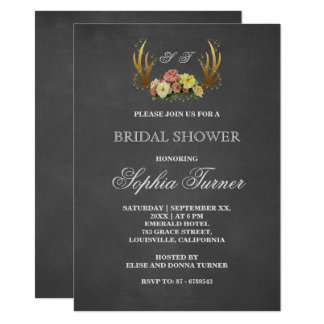 Unique Antlers Floral Chalkboard Bridal Shower 11 Cm X 16 Cm Invitation Card