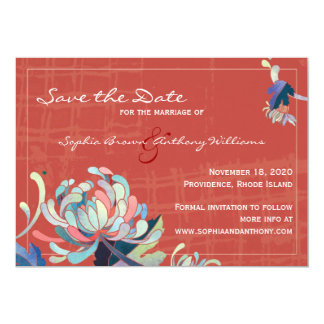 Unique Floral Red Wedding Save the Date 13 Cm X 18 Cm Invitation Card