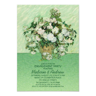 Unique Rose Vase Floral Engagement Party 13 Cm X 18 Cm Invitation Card