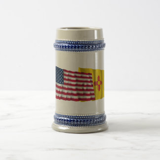 United States and New Mexico Waving Flags Beer Steins
