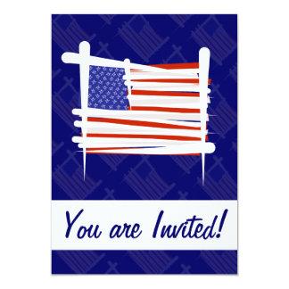 United States Brush Flag 13 Cm X 18 Cm Invitation Card