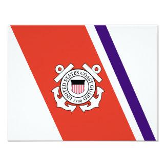United States Coast Guard Racing Stripe - Left 11 Cm X 14 Cm Invitation Card
