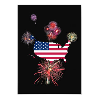 United States Flag-Map and Fireworks 13 Cm X 18 Cm Invitation Card