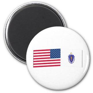 United States & Massachusetts Flags 6 Cm Round Magnet