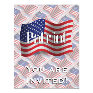 United States Patriot Waving Flag 11 Cm X 14 Cm Invitation Card