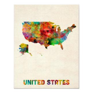 United States Watercolor Map 11 Cm X 14 Cm Invitation Card