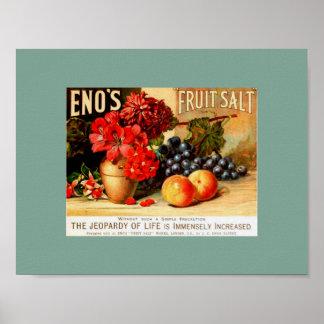 Unusual VINTAGE FRUIT & FLORAL ENO'S FRUIT SALT Poster