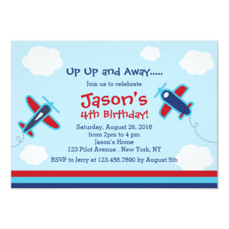 Up UP and Away Aeroplane Birthday Party I 13 Cm X 18 Cm Invitation Card