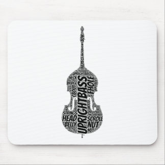 Upright Bass Shaped Word Art Black Text Mouse Pad