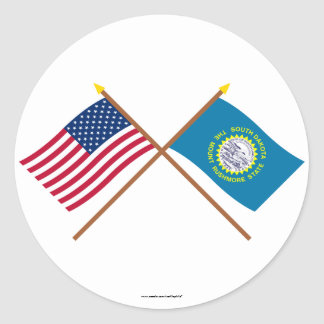 US and South Dakota Crossed Flags Round Sticker