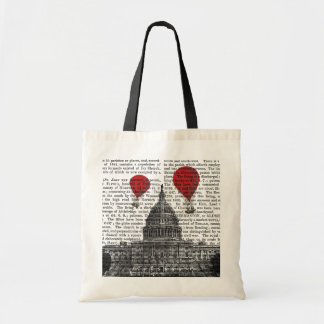 US Capitol Building and Red Hot Air Balloons Budget Tote Bag