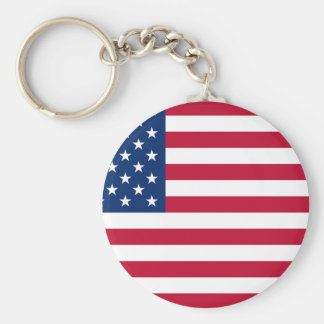 us flag basic round button key ring