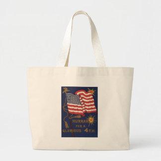 US Flag Fireworks Explosion 4th of July Jumbo Tote Bag