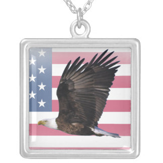 US Flag with Eagle Square Sterling Silver Necklace