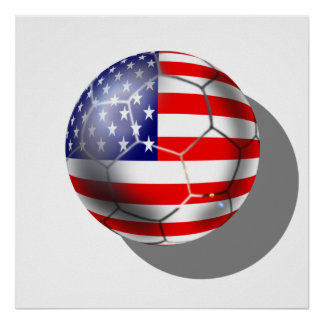 US Soccer team fans stars and stripes flag ball Poster