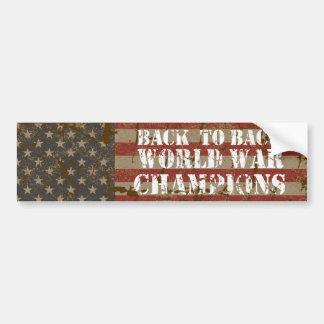 USA, Back to Back World War Champions Bumper Sticker