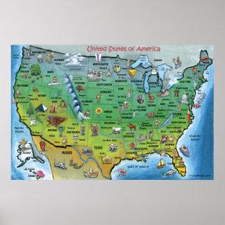 USA Cartoon Map HUGE Poster