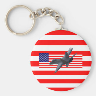 usa flag basic round button key ring