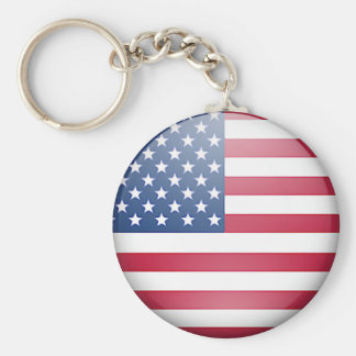 USA flag button Basic Round Button Key Ring