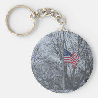 USA flag keycain Basic Round Button Key Ring