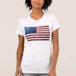 USA flag red & blue sparkles glitters T-shirts