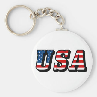 USA Flag Text Keychain