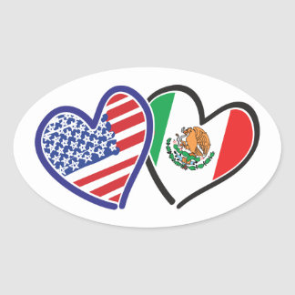 USA Mexico Heart Flags Oval Sticker