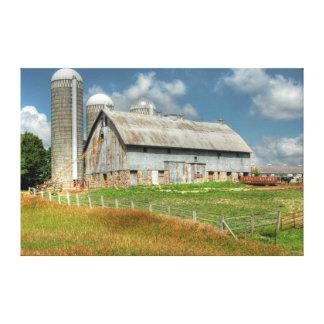 USA, Minnesota Barn And Silo Stretched Canvas Print