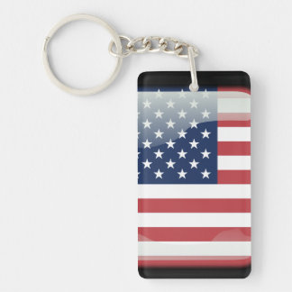 Usa polished flag Double-Sided rectangular acrylic key ring