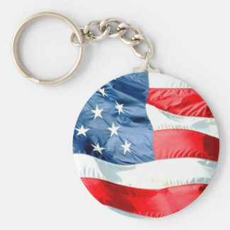 USA Stars and Stripes Basic Round Button Key Ring