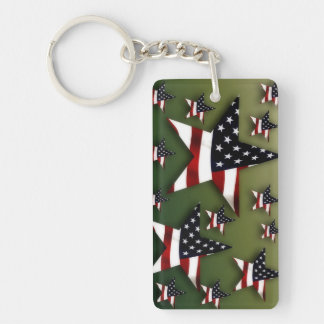 Usa stars flag Double-Sided rectangular acrylic key ring