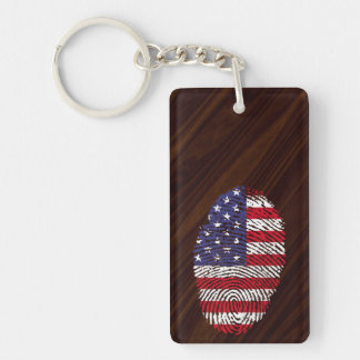 Usa touch fingerprint flag Double-Sided rectangular acrylic key ring