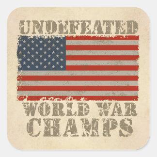 USA, Undefeated World War Champions Square Sticker